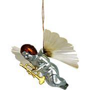 Antique Unusual German Blown Glass Angel Christmas Ornament ca1910