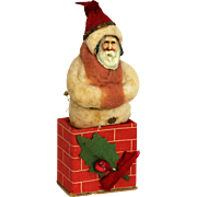 Antique German Cotton Batting Santa on Chimney Candy Container ca1910