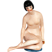 Antique Rare German Bisque Bathing Lady Pin Cushion ca1915
