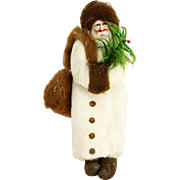 Antique German Cotton Batting Santa Christmas Ornament ca1910