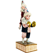 Antique German Bisque Head Clown Dolls Mechanical Musical Toy ca1910