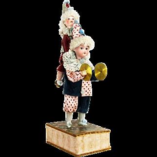 Antique German Bisque Head Clown Dolls Mechanical Musical Toy ca1910