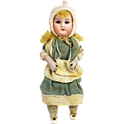 Antique German Bisque Snow Girl on Snowball Candy Container ca1910