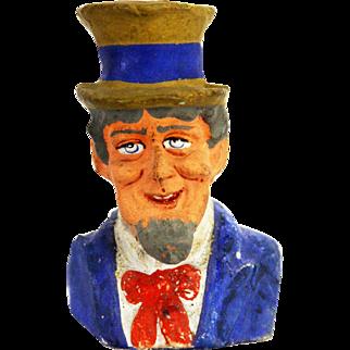 Antique German Uncle Sam Paper Mache Candy Container ca1910