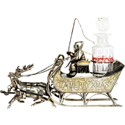 Rare Victorian Meriden Silver Plated Santa, Reindeer and Sled Perfume Holder and Jewelry Box ca1880