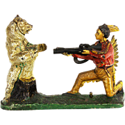 Cast Iron Indian Shooting Bear Mechanical Bank