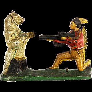 Cast Iron Indian Shooting Bear Mechanical Bank