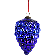 Antique Large German Cobalt Blue Kugel Glass Christmas Ornament ca1900