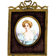 Antique Miniature Portrait Painted Porcelain with Enameling in Bronze Frame