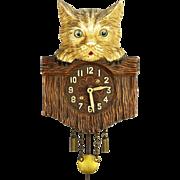 Vintage Lux Cat Over Fence Pendulette Clock ca1935