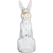 Antique German Paper Mache Easter Bunny Girl Candy Container ca1910