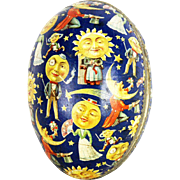 Antique German Easter Egg Candy Container Celestial Sun Moon Stars ca1910
