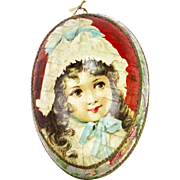 Antique German Lithographed Easter Egg Candy Container Girl Faces ca1910