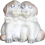 Vintage Hand Carved Hard Alabaster Stone Dogs Puppies ca1920
