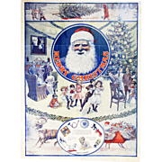 Antique Santa Christmas Advertising Poster WT Riggs Michigan