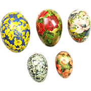 Antique German Lithographed Floral Easter Egg Candy Containers 5pc