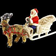 Vintage German Santa, Loofah Sled and Reindeer ca1930