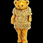 Antique German Miniature Hertwig Bisque Bear ca1910