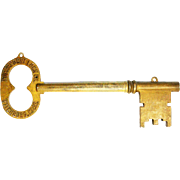 Antique Cast Iron Key Advertising Trade Sign Fitchburg, Mass. ca1910