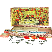 Antique French Frog Fishing Game ca1900