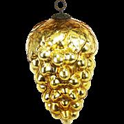 Antique German Large Gold Grape Glass Kugel Ornament ca1900