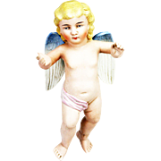 Antique German Large Bisque Angel Ornament ca1910