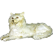 Antique French Fur Covered Dog Candy Container ca1910