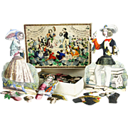 Antique French Early Paper Doll Toy With Original Box ca1820