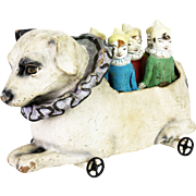 Antique French Carnival/Circus Dog with Clown Skittles ca1910