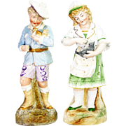 Antique German Heubach Boy and Girl Figurines ca1910