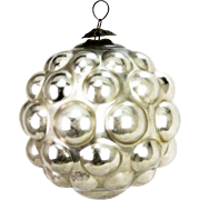 Antique German Large Rare Kugel Silver Glass Ornament