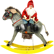 Antique German Wind Up Donkey Rocker with Santa Rider ca1910