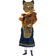 Antique Early German Paper Mache Cat And The Fiddle Mechanical Squeeze Doll ca1890