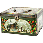 Antique German Tin Lithographed Christmas Box ca1900