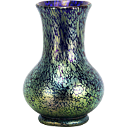 Antique Loetz Cobalt and Green Iridescent Oil Spot Art Glass Vase ca1910