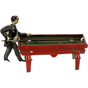 Vintage Kellermann Tin Penny Toy Lithograph Billiards Pool Player  ca1920