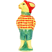 Vintage Celluloid Dressed Easter Bunny Rabbit Toy Rattle