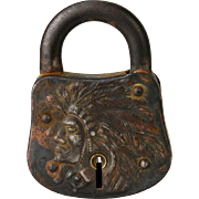 Antique Cast Iron Lock with Native American Indian Face