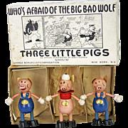 Antique Disney Three Little Pig Figures in Original Box George Borgfeldt Corp