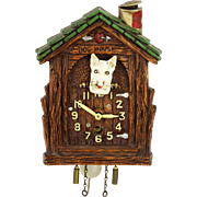 Vintage Lux Animated Scotty Dog House Pendulette Clock ca1935