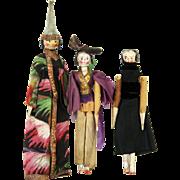 Antique Grodnertal Wood Peg Dolls Set of 3 ca1830