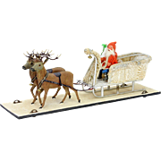 Antique German Santa in Sled With Reindeer Pull Toy ca1900
