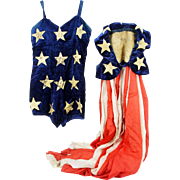 Antique Silk and Velvet American Flag Lady Liberty Patriotic Costume Outfit ca1890