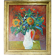 Vintage Oil on Canvas Flowers by French Artist Robert Mendoze (1930)