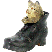 Antique German Cat in The Shoe Candy Container ca1900