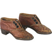 Antique Leather Miniature Salesman Sample Doll Shoes ca1900