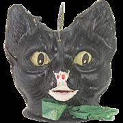Antique German Black Cat Halloween Lantern  ca1915