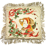 Vintage Embroidered Santa Pillow ca1920