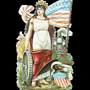 Antique Victorian German Huge Patriotic Die Cut ca1860