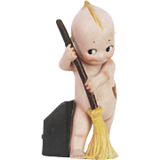 Antique Rose O'Neill Kewpie with Broom and Dustbin ca1915